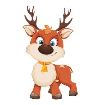 かわいいクリスマスの鹿。面白いトナカイの漫画のキャラクター