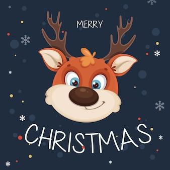 Cute christmas deer. funny reindeer