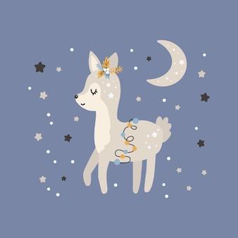귀여운 크리스마스 사슴입니다. 스칸디나비아 스타일의 벡터 인쇄. 포스터, 카드, 티셔츠를 위한 손으로 그린 벡터 삽화.