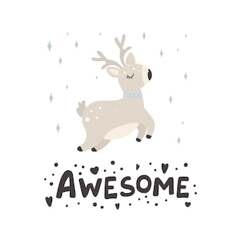 Cute christmas deer vector print in scandinavian style hand drawn vector illustration for posters