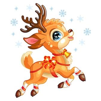 Милый рождественский олень со снежинками. мультипликационный персонаж единорога. изолированная иллюстрация вектора.