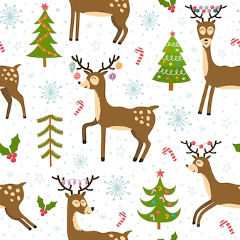 Cute christmas deers seamless pattern. winter background with funny reindeer.