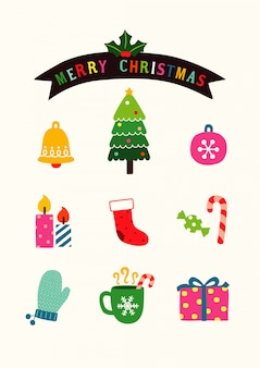 Cute christmas design elements in flat style