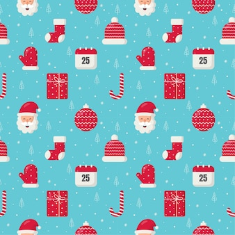 Cute christmas doodle seamless pattern on blue background