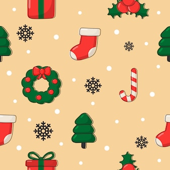 Cute christmas doodle seamless pattern on cream .