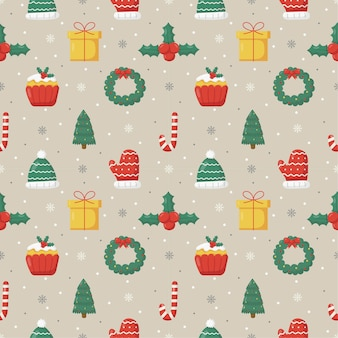 Cute christmas doodle seamless pattern on gray background
