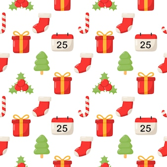 Cute christmas doodle seamless pattern on white background.