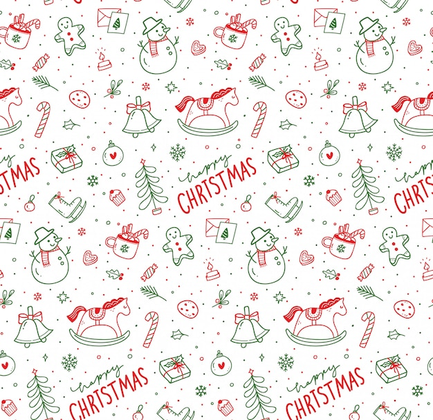 Cute christmas doodle seamless pattern