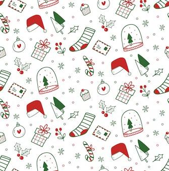 Cute christmas doodles seamless pattern
