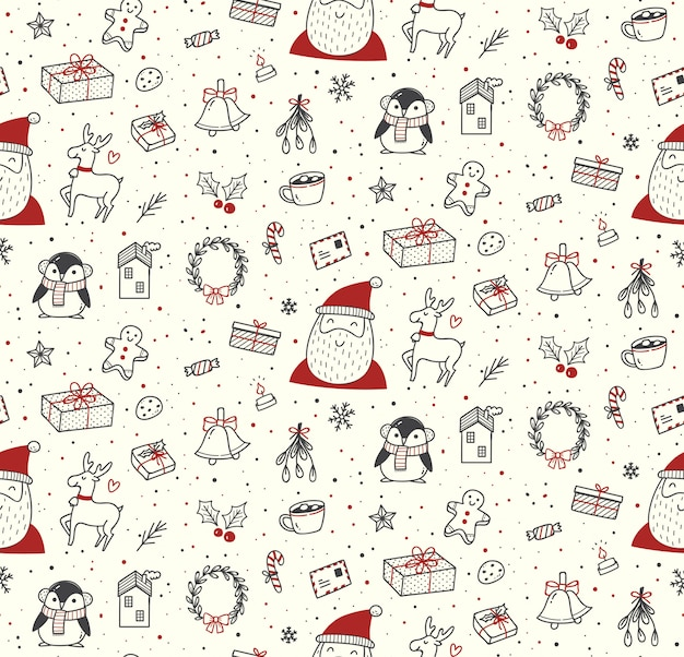 Cute christmas doodles seamless pattern
