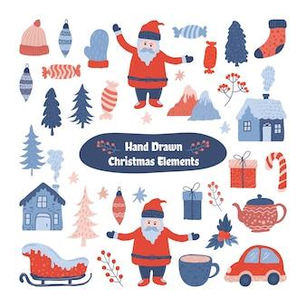 かわいいクリスマス要素コレクション、手描きスタイルでトレンディ