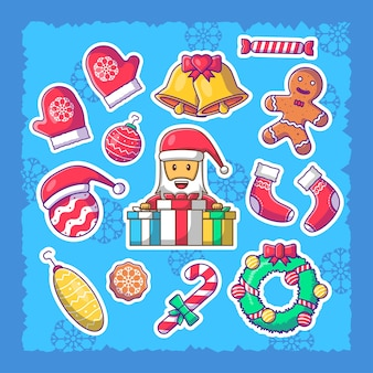 Симпатичные рождественские наклейки набор иллюстраций