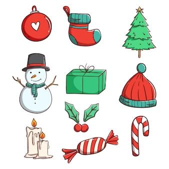 Милые рождественские элементы для украшения с рисованной или каракули стиль
