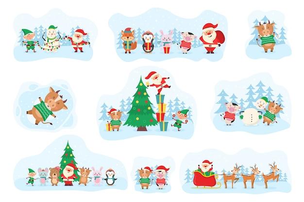 Симпатичные рождественские элементы, санта, снеговик, подарки, снежинки, медведи, пингвины, елка, животные и корова. симпатичные лесные животные и дед мороз на рождественские праздники. набор персонажей мультфильма дикой природы. .