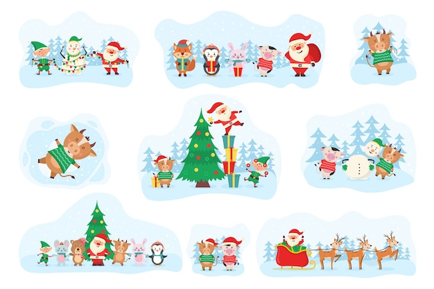 Cute christmas elements, santa, snowman, gifts, snowflakes, bears, penguins, tree, animals and cow. cute forest animals and santa claus for christmas holidays. wildlife cartoon character set.  .