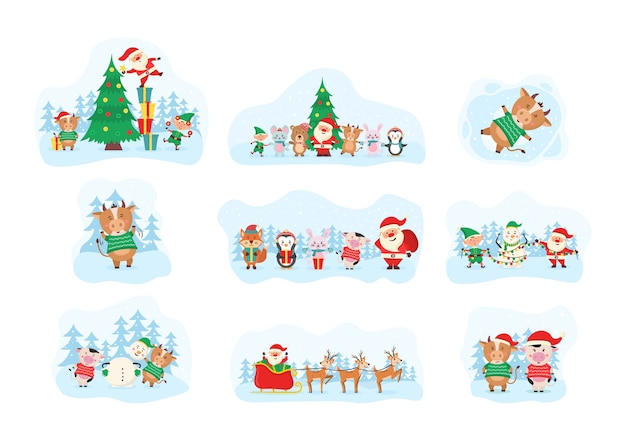 Cute christmas elements, santa, snowman