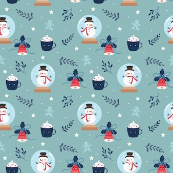 かわいいクリスマス要素のシームレスパターン