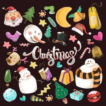 かわいいクリスマスの要素セット