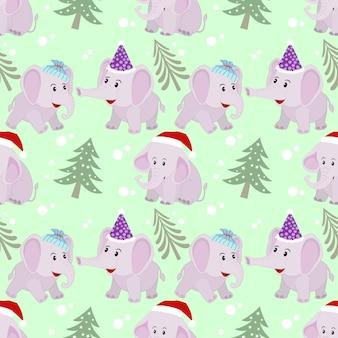 Симпатичный рождественский слон бесшовные модели.