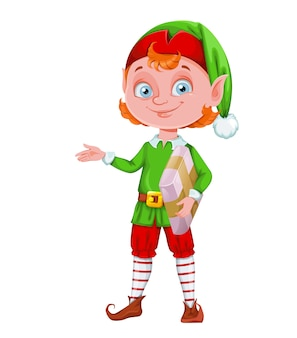 Cute christmas elf cartoon character holding package