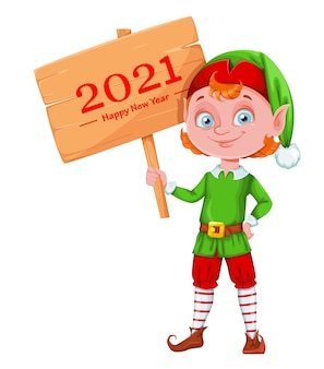 Cute christmas elf cartoon character holding wooden sign