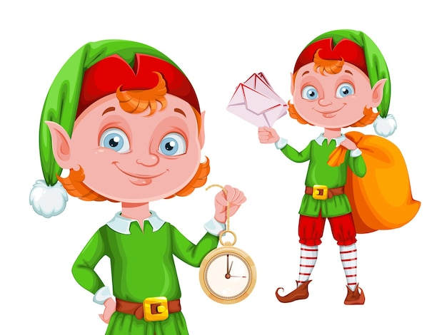 Cute christmas elf cartoon character, set of two poses