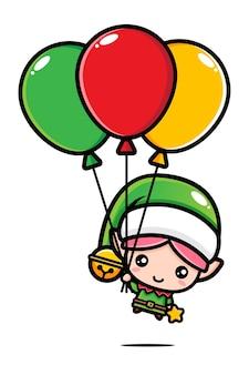 Милый рождественский эльф, летящий с воздушными шарами