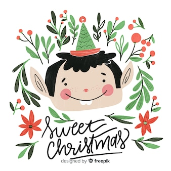 Cute christmas elf lettering