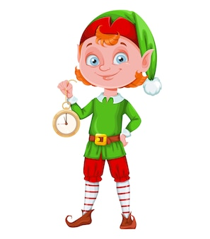 Cute christmas elf merry christmas and happy new year