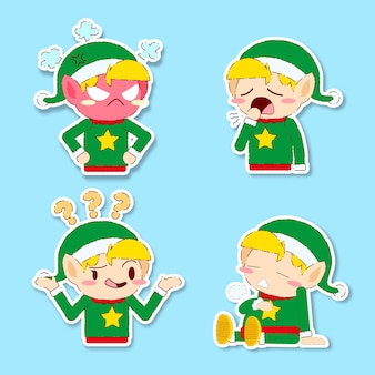 Cute christmas elf sticker vector set