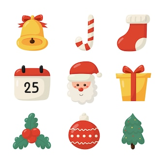 Милый рождественский плоский набор иконок, изолированные на белом фоне.