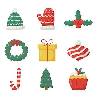Милый рождественский плоский набор иконок на белом фоне