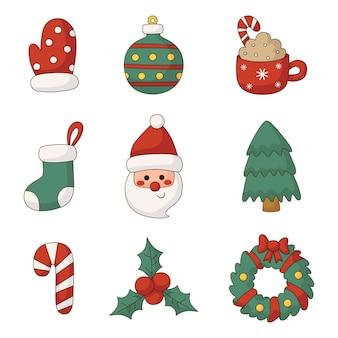 흰색 배경에 고립 된 귀여운 크리스마스 평면 아이콘 세트