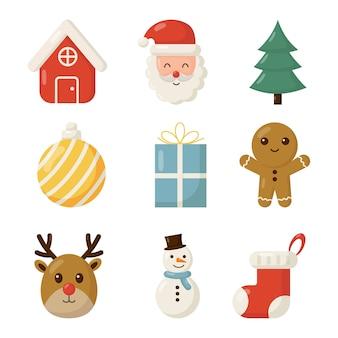Cute christmas flat icon set isolated on white background