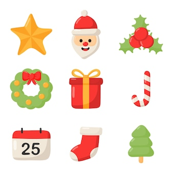 Cute christmas flat icon set isolated on white background.