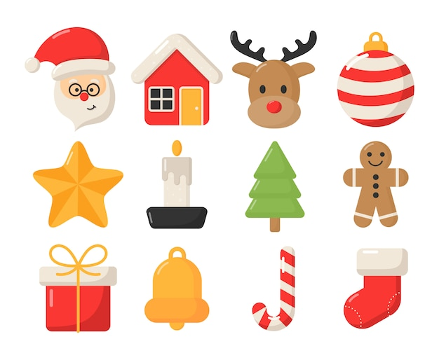 Cute christmas flat icon set isolated on white .