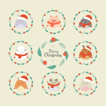 Cute christmas forest animals. wildlife cartoon character set