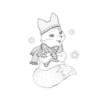 Cute christmas fox, sketch doodle animal.