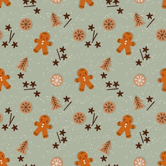 Cute christmas gingerbread man in christmas season seamless pattern.