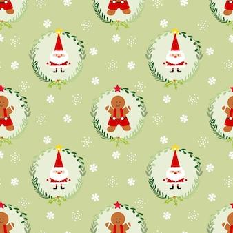 Cute christmas gingerbread man and santa seamless pattern.