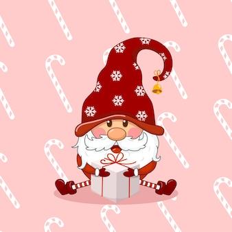 선물 상자를 들고 귀여운 크리스마스 그놈