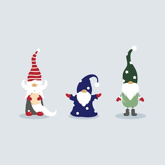 귀여운 크리스마스 그놈. 세 가지 요소의 집합입니다. 모자를 쓴 마법사.