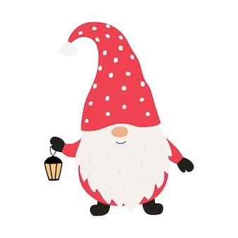 랜턴과 함께 귀여운 크리스마스 그놈입니다. 벡터 일러스트 레이 션 흰색 배경에 고립입니다.