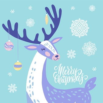 Cute christmas greeting card, invitation with reindeer with christmas toys on the horns. hand drawn deer with snowflakes design.