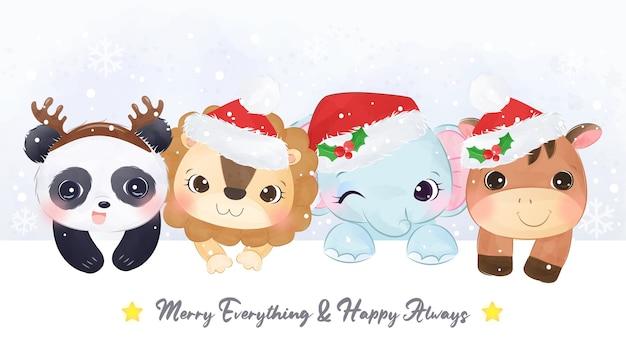 동물들과 함께 귀여운 크리스마스 인사말 카드