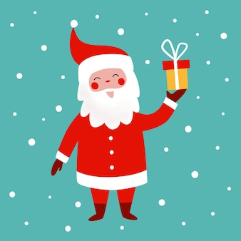 面白いサンタと雪片とかわいいクリスマスグリーティングカードベクトルクリスマスイラスト
