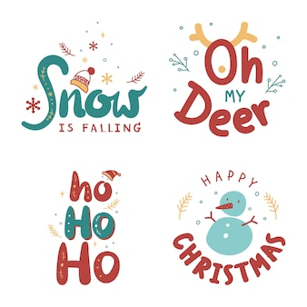 Cute christmas greeting typography doodle set