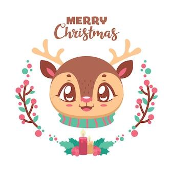 쾌활한 순록과 귀여운 크리스마스 인사말