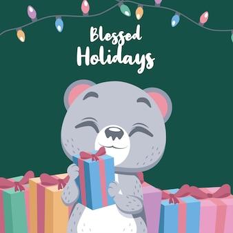 행복 한 북극곰과 귀여운 크리스마스 인사말
