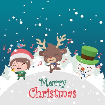 Cute christmas greeting with elf, reindeer and snowman